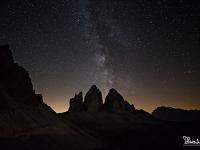 Notturno con stella cadente in Lavaredo