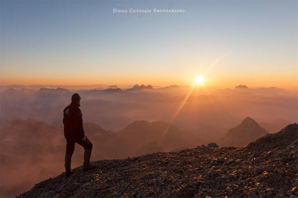 Autoscatto all'alba, verso le Dolomiti Ampezzane
