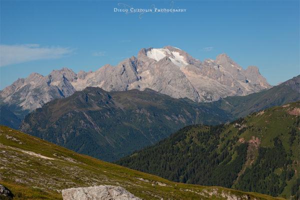 La Marmolada e il suo ghiacciaio, dalla forcella Col Piombin (Cernera)