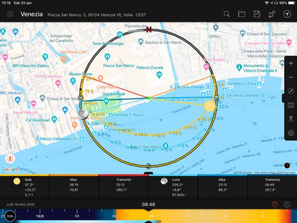 La modalità mappa di Sunsurveyor