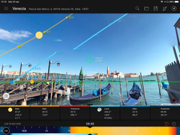 La modalità street view di Sun Surveyor
