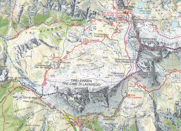 Il percorso: il primo giorno si segue il sent. 101 dall'Auronzo al Locatelli, si ritornerà poi per il sent. 105